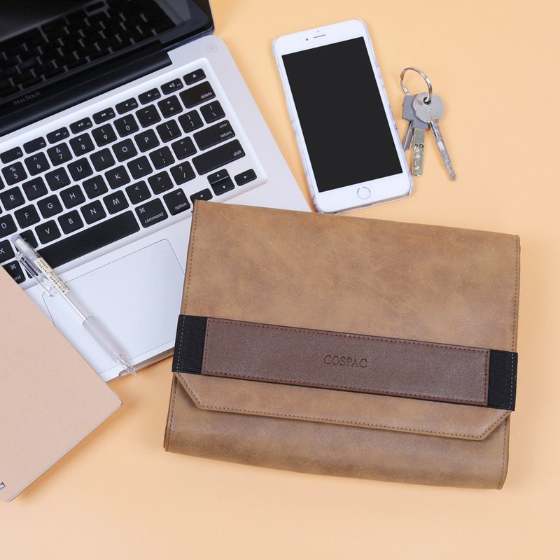 Light Brown PU Faux Leather Small Envelope Clutch Bag