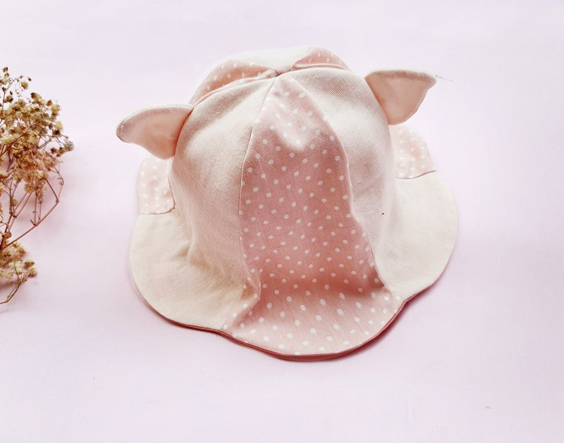 DOMOMO Full Spicy Mini Pig - (Powder) Baby Pig Ear Double Sun Visor Fisherman Hat