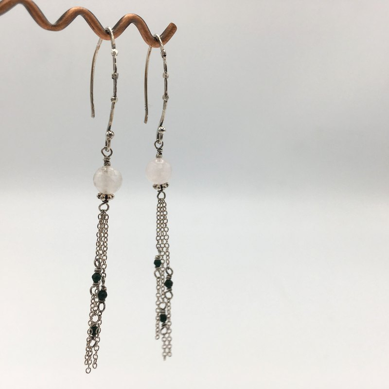 long dangle earrings with 925 silver chain long tassel and faceted rose quartz