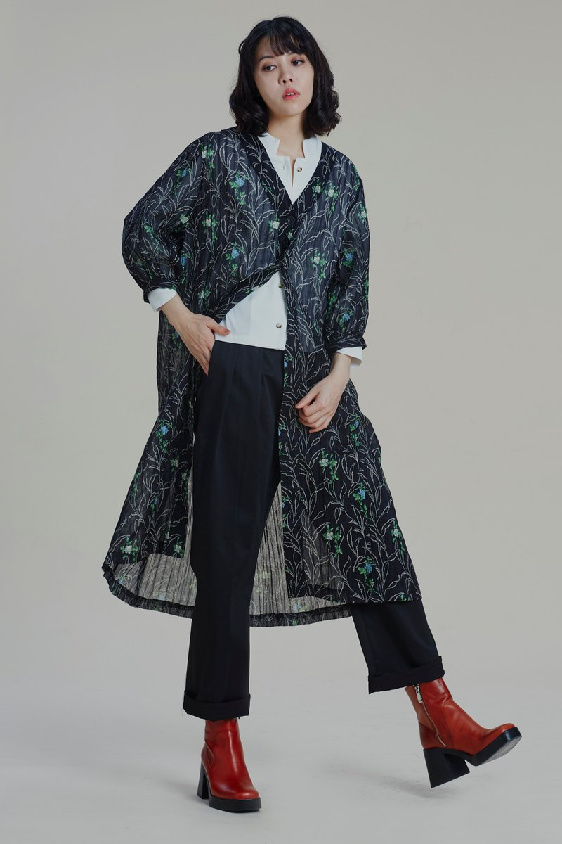 Shan Yong floral print long embossed blouse