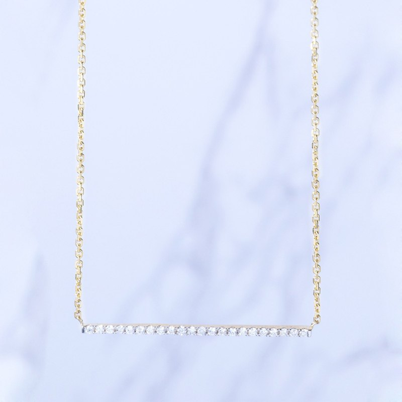 18K gold will single line small diamond necklace