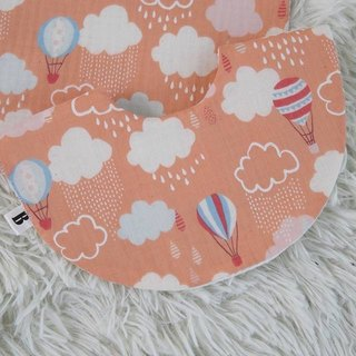 Bonbon Baby Double Yarn + Terry Double Sided Bib_Pink Orange Hot Air Balloon Babybib
