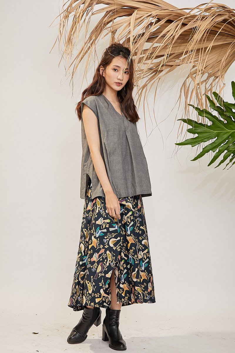 Single piece open long skirt _ color bird _ fair trade