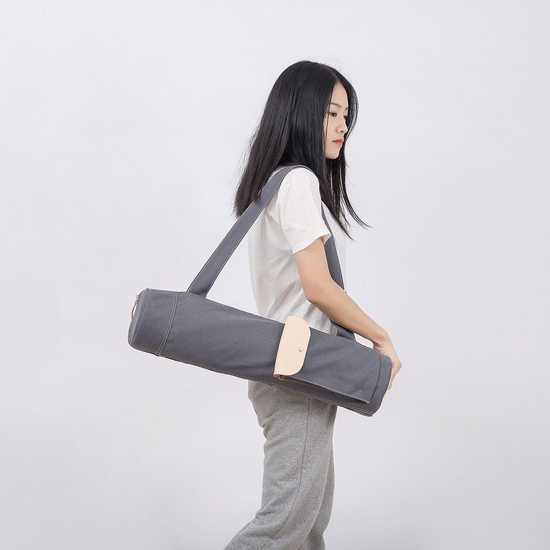 [canvas meets leather] yoga bag yoga mat portable storage backpack yoga mat multi-function storage bag