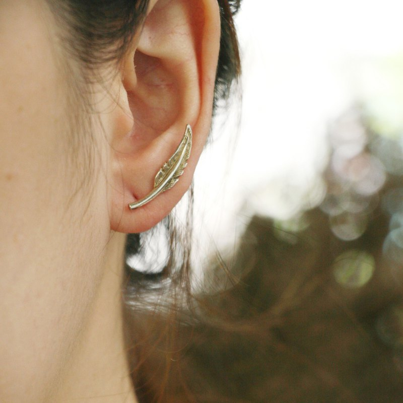 Feather Ear Climbers Earrings Silver leaf jewelry crawler Bohemian jewelry long