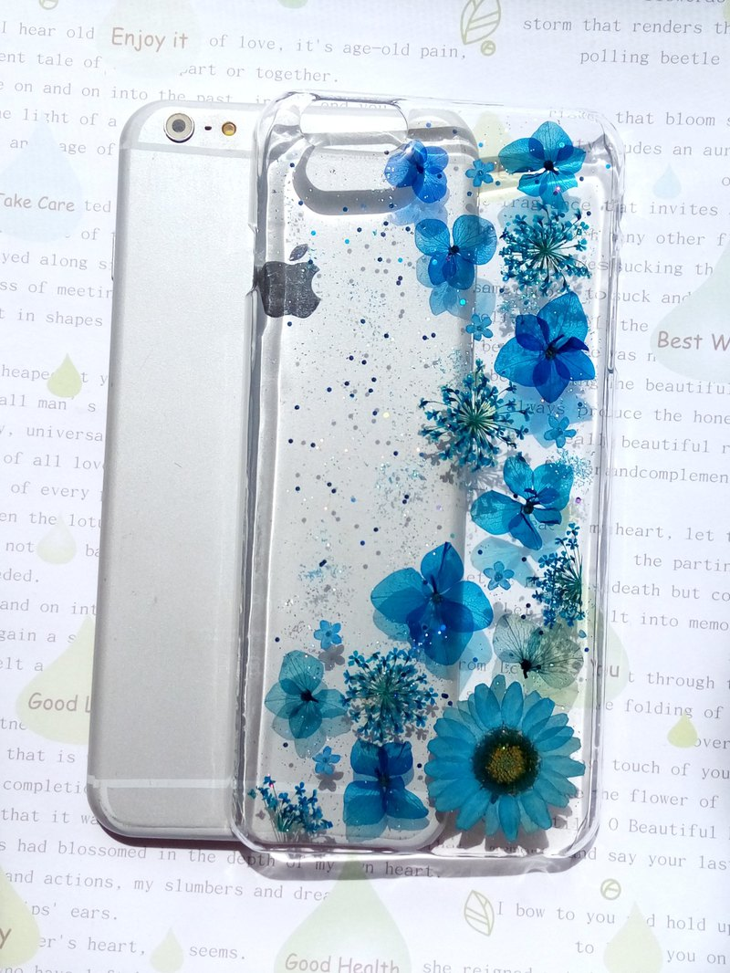 Pressed flowers phone case, Fit for iPhone 6 plus, My blue style