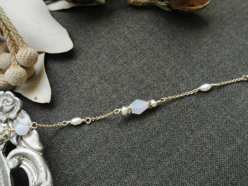 Christmas series] [blue aurora 14K gold Blue Lace Agate Bracelet