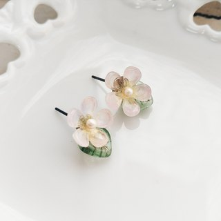 momolico lovely small round flower earrings (clip-on can be changed)
