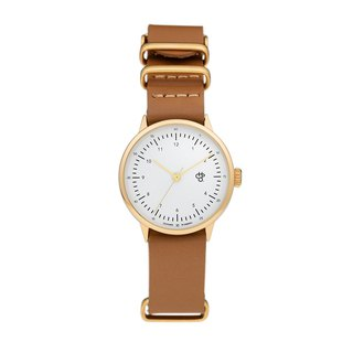 Harold Mini Gold White Dial Honey Brown Leather Watch