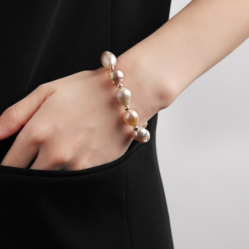 Baroque bracelets are not available VISHI natural freshwater shaped mixed color nuclear pearl string 14K gold female gift
