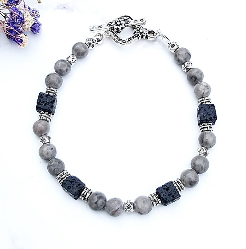 <Courage Light Wheel - Limestone> Maifan Stone x Volcanic Rock Cube Bracelet Customized Gift Anniversary Day