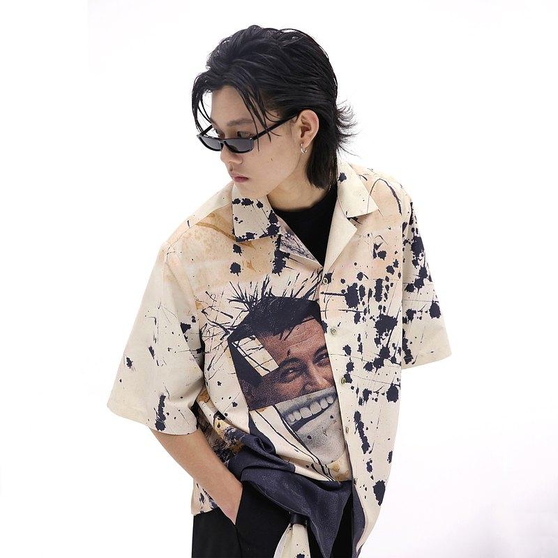 ANTEBB 原創人像美式復古涂鴉印花超大oz潮流日系古巴領短袖襯衫