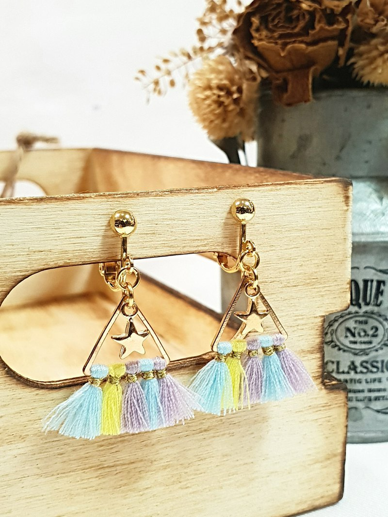 Paris*Le Bonheun. Triangle star colorful tassel earrings (ear pin / ear clip clip type). Macaron