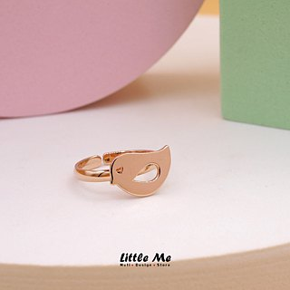 Handmade Little Bird Ring - Pink gold plated on brass