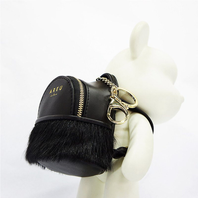 MBS leather horse hair mini backpack purse with small card package key bag