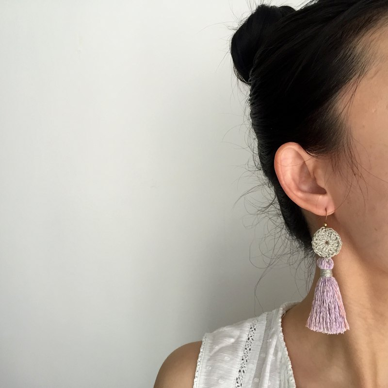 Handmade tassel earrings  |  Pink hydrangea x silver  |  Crochet circle