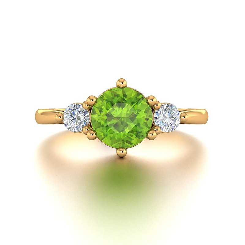 【PurpleMay Jewellery】 18k Solid Gold Natural Peridot Diamond Ring - R111