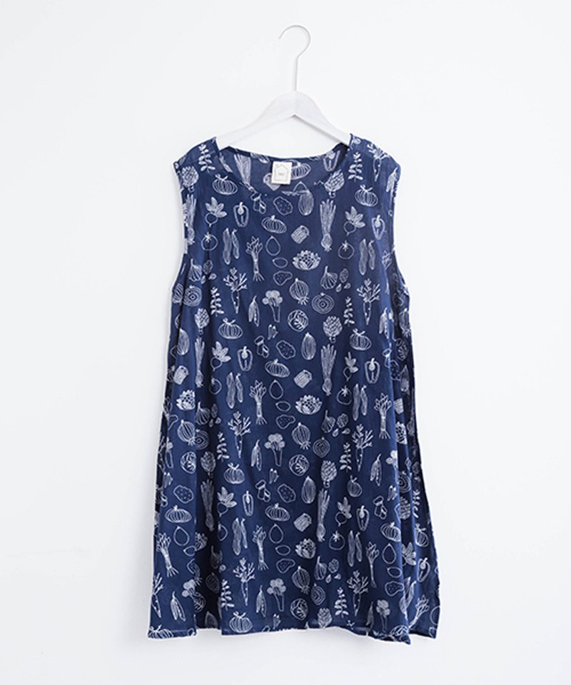 Vegetable Print Sleeveless Tunic Dress