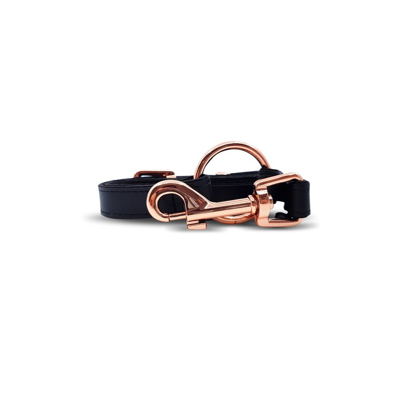 Dog and Cat Leash in Classic Black with Rose Gold Hardware