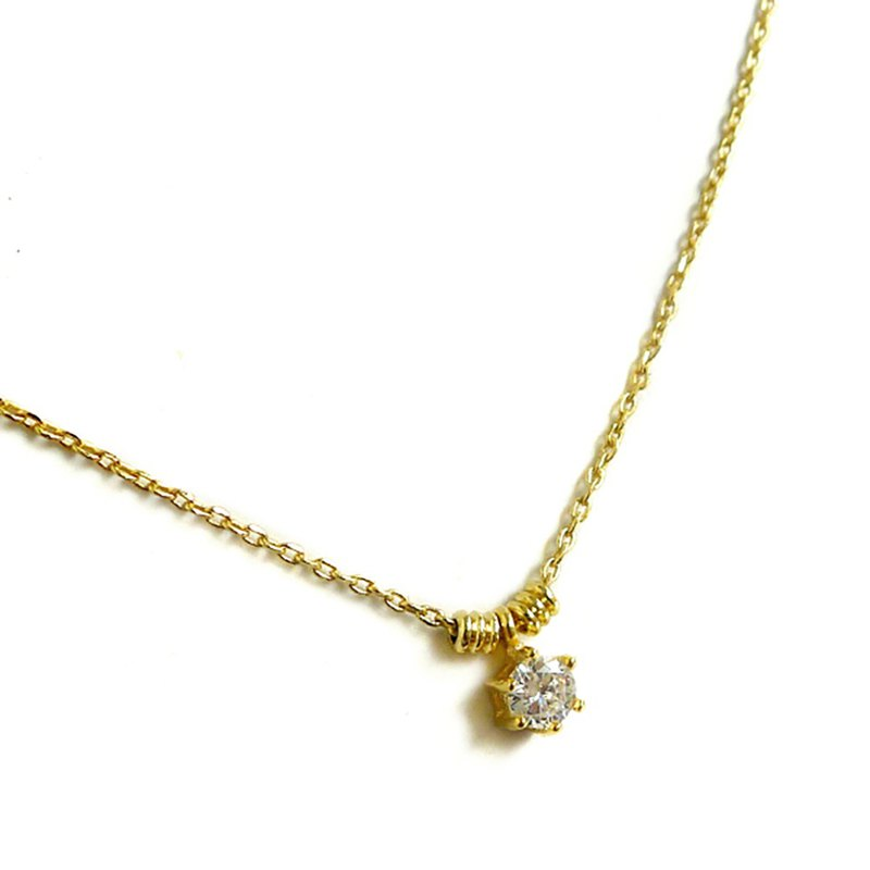 Ficelle | handmade brass natural stone necklace | [zircon] elegant round diamond clavicle chain