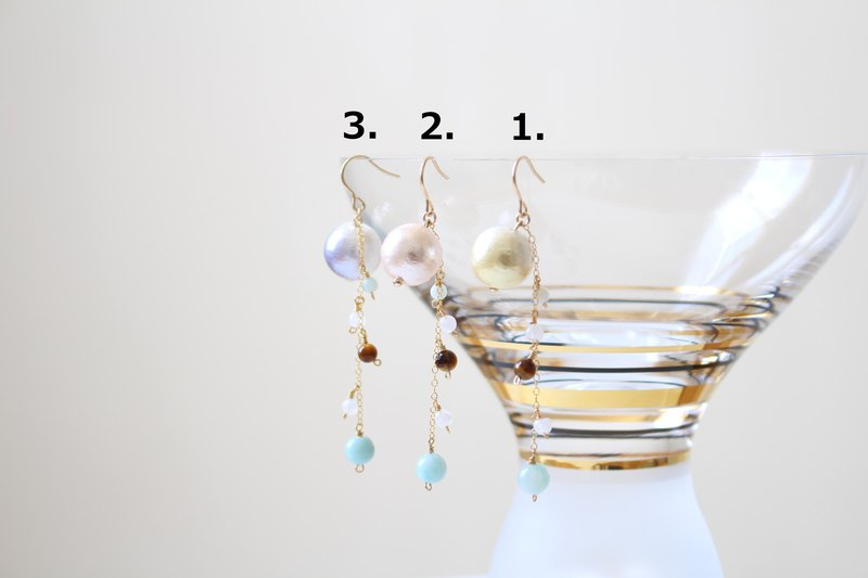 Cotton pearls 12mm and colorful gemstones dangled earrings, 14kgf
