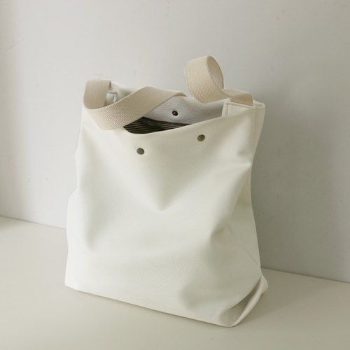 *Mingen Handiwork*Original handmade white artificial leather PU bag PU16001