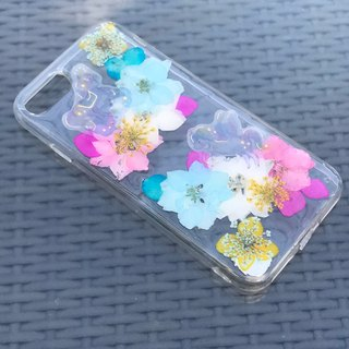 iPhone 7 Plus Dry Pressed Flowers Case Little Horse with Colourful Flowers 014