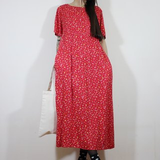 F2083 (Vintage) red floral waist straps attached two-pocket cotton short-sleeved vintage dress (wedding / picnic / party)