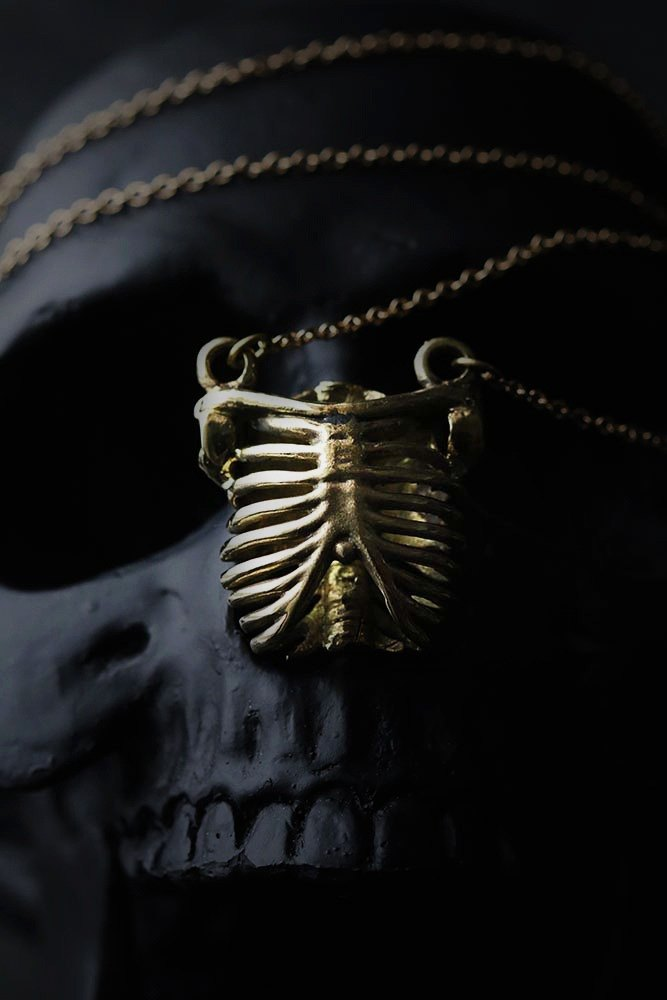 Human Rib Cage Charm Necklace by Defy - Brass Pendant Necklace - Statement Jewelry.