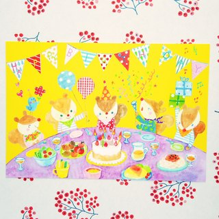 Postcard birthday card animal birthday party