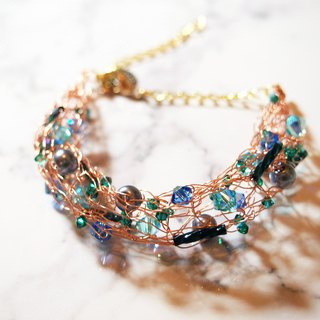 Custom elegant French rose gold copper with blue-green Swarovski stone and Japanese imitation pearl bracelet BC045