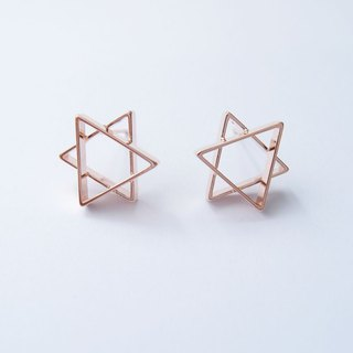 Hexagonal star rose metal earrings