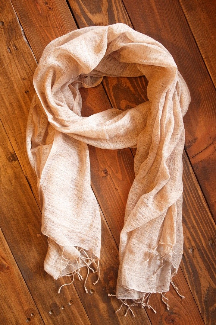 【Grooving the beats】[ Fair Trade] Organic Cotton, Hand woven, Natual Dye Shawl / Scarf(Light Brown)