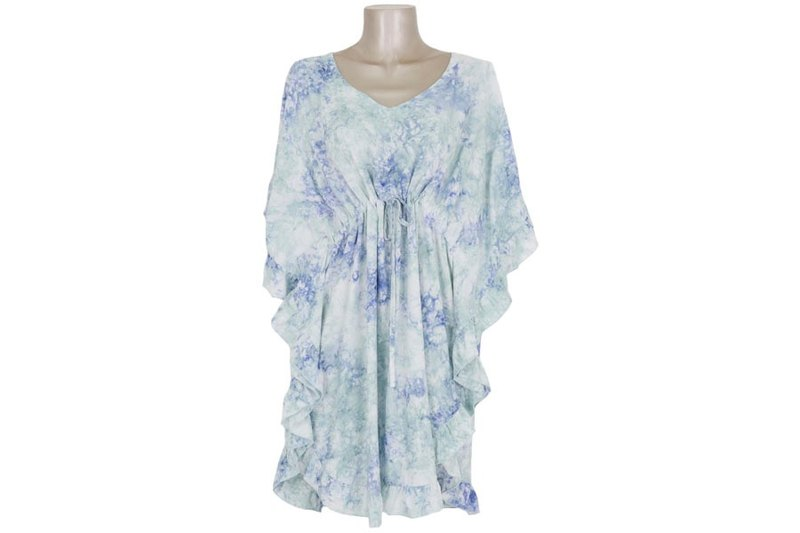 Uneven Dyed Butterfly Sleeve Ruffled Dress Dress Ice Blue