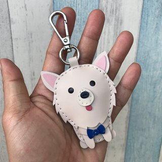 25% off Beige Pomeranian hand-stitched leather keychain small size