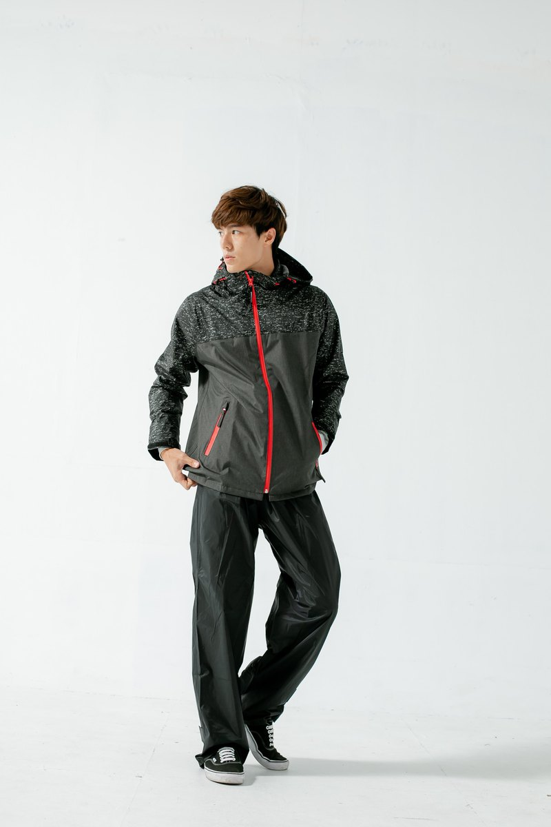 OH!MY Knit Quick Dry Two-Piece Raincoat - Deep Iron Grey / Black