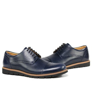 Temple filial piety decorated carved punching derby shoes blue