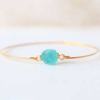 Natural blue apatite bracelet - 18k gold plated thin bracelet natural crystal