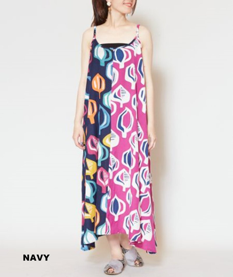 [Popular pre-order] colorful geometric leaf print thin shoulder strap dress (two colors) IDS-9509