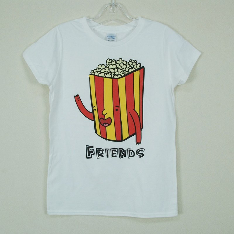 "New Designer-T-shirt: [Movie Good Friends - Popcorn] Short Sleeve T-shirt ""Neutral / Slim"" (White) -850 Collections"