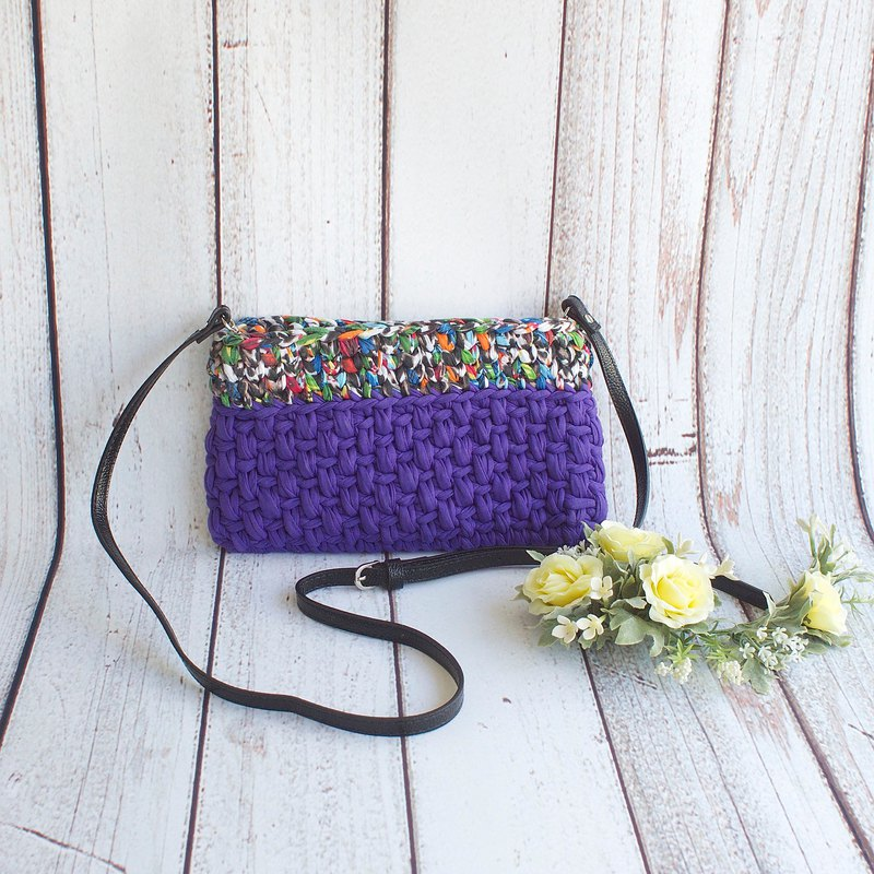 Hand-woven bicolor clutch / side backpack Amazon forest x purple custom cloth color gift custom