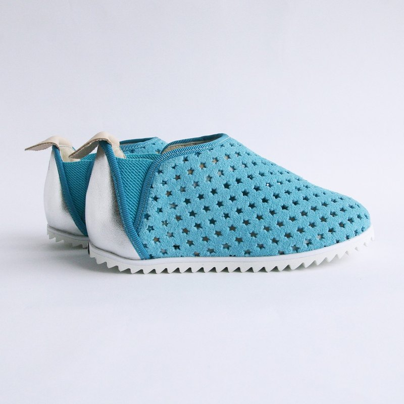 Beven Smiley. V series full leather children's shoes - tunnel section - relaxed blue (slippers / lazy shoes)