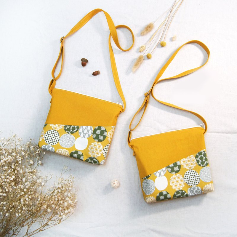 Spot hand made Japanese flower ball shoulder bag diagonal backpack mustard yellow