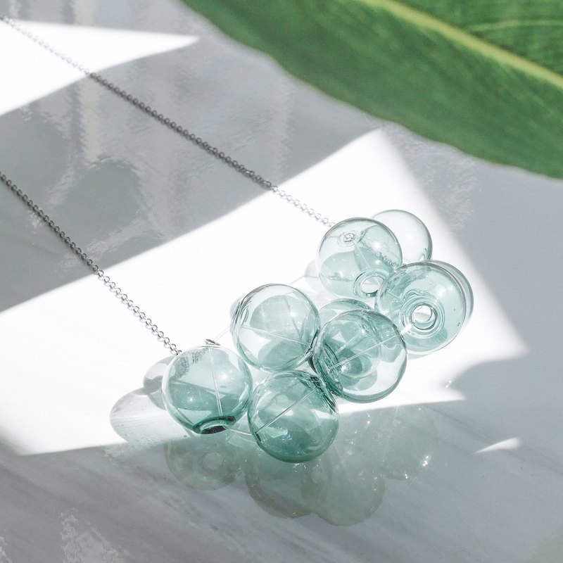 18K Sliver Transparent Green Bubble Bubbles Necklace