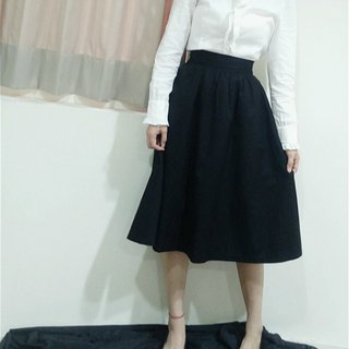 In fact, I also envy the Hepburn style round skirt - black | 100% organic cotton | elegant temperament slim professional occupation report interview elastic waist loose round skirt long skirt skirt suit suit