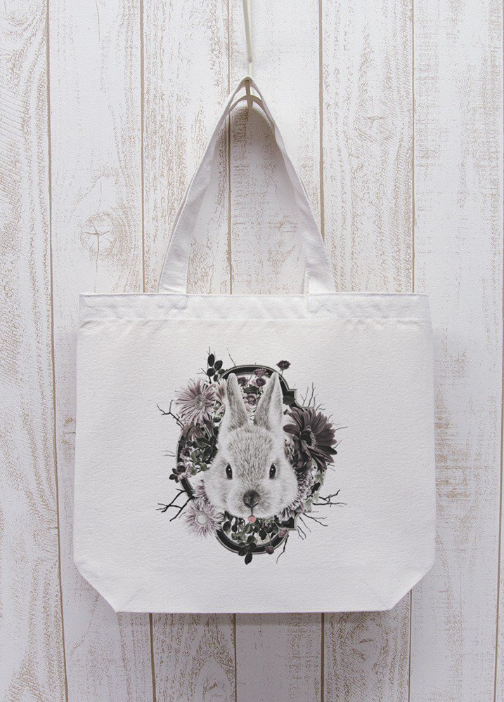 ronron RABIT Flower Frame Outing Tote Natural / R033-BT-NA