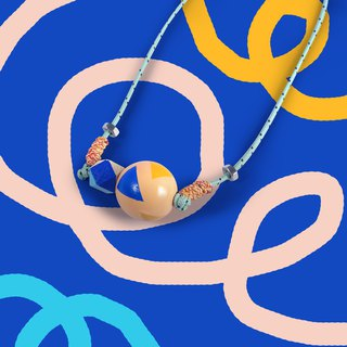 Puppets wood necklace small section 20mm round blue hexagon + pattern ball rope necklace pendant