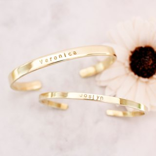 Minimalist original brass bracelet (a pair) Customized hand knock letters on a friend's birthday gift