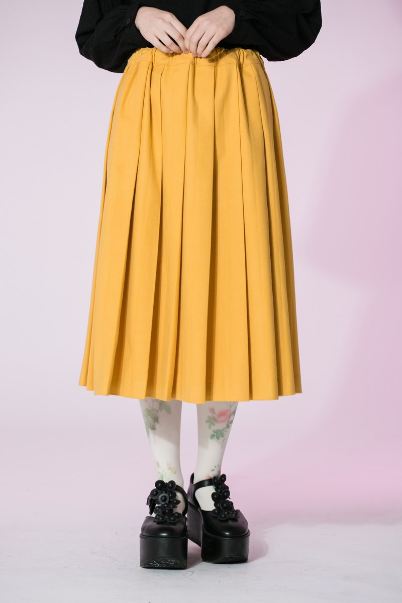 : In EMPHASIZE waist drawstring elastic waist sanded pleated skirt - yellow