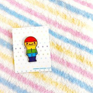 Metal brooch - rainbow doll